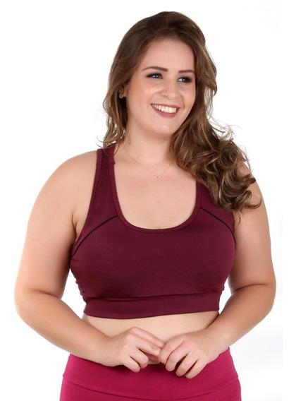 Kit 3 Tops Fitness Academia Plus Size C/ Bojo Liso 8753
