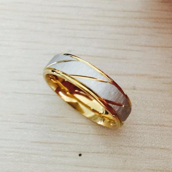 Par Aliança Anel 6mm Banhado Ouro Amarelo Aço Inox Escovado
