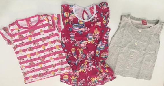 Kit Com 3 Peças - Macacão, 2 Camisetas Femininas - Tam 6