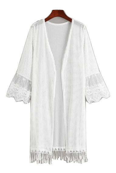 Kimono Encaje Bata Salida De Baño Playa Alberca Bikini Cover Up