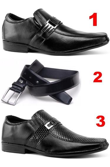 Kit 2 Pares De Sapato Masculino Mais Cinto De Couro