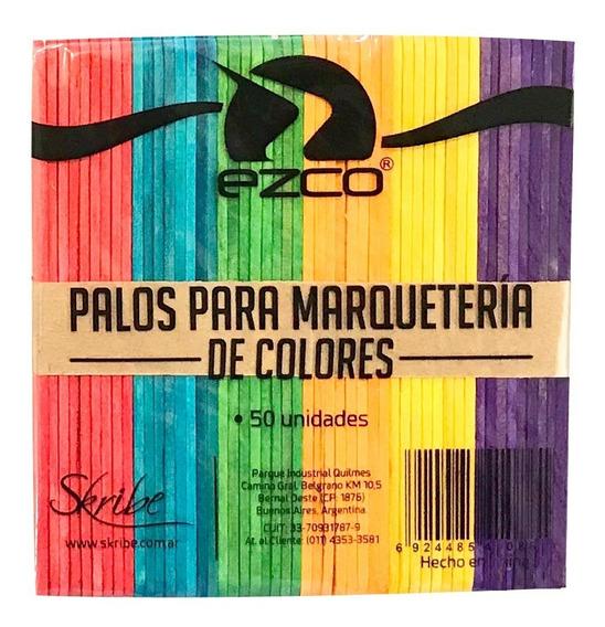 Palitos De Helado Color Para Marqueteria X50u Ezco