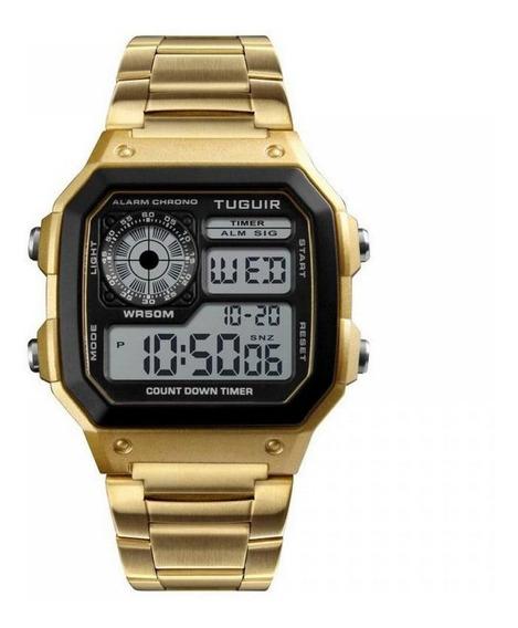 Relógio Feminino Masculino Dourado Original Digital Esporte