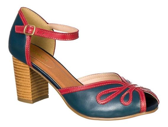 Sandália Peep Toe Retro Malbork Em Couro Azul Salto 7cm 3181