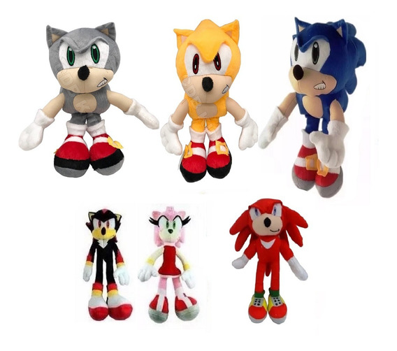 Kit 6 Pelúcias Turma Do Sonic Tails Knucles Shadow