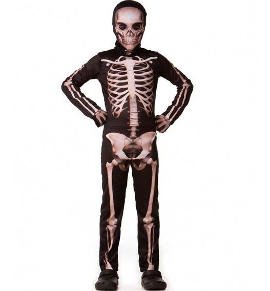 Roupa De Halloween Menino Infantil Esqueleto Longo P Ao Gg