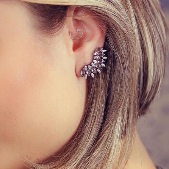 Ear Cuff Ródio Negro Com Pedra Translúcida Br010129