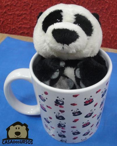 Imagem 1 de 8 de Caneca Namorados Cute De Porcelana 330ml + Urso Panda 15 Cm
