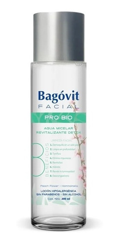 Bagovit Facial Pro Bio Agua Micelar Detox Limpia X 200ml