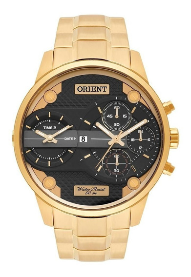 Relógio Orient Masculino Mgsst001 P1kx Dual Time Dourado