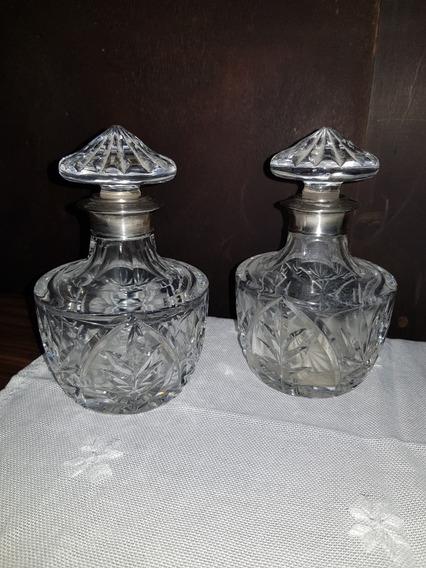 Antiguo Par De Perfumeros De Tocador Cristal Y Plata 925