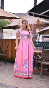 Vestido Longo Boneca Evangelico Rosa