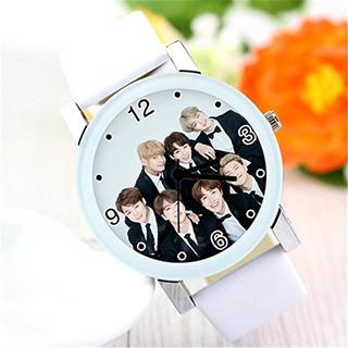Kpop Bts Bantan Chicos Mujer Hombre Casual Piel Casual Reloj