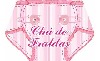 Convite Chá De Fraldas Feminino (com 100 Unidades)