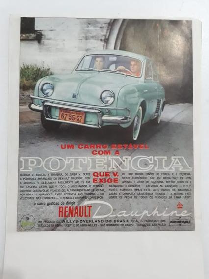 Propaganda Antiga Renault Dauphine Publicidade Anúncio Raro