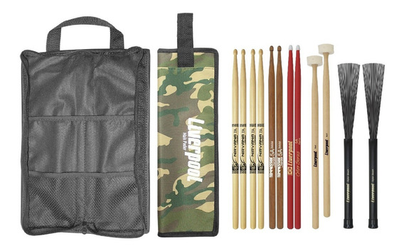 Kit Bag Com01 + Set De Baquetas Diversas Liverpool