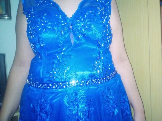 Vestido Azul Royal Com Pedrarias
