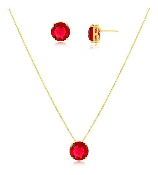 Conj. Corrente+brinco Pingente Pedra Rubi Vermelho Ouro 18k