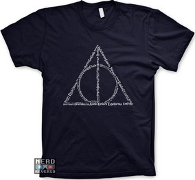 Camisetas Harry Potter Deathly Hallows Feitiços Magias Geeks