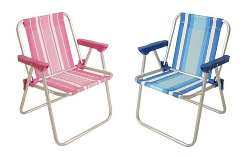 Kit 2 Cadeira Alta Infantil Alumínio Rosa Azul Praia - Mor