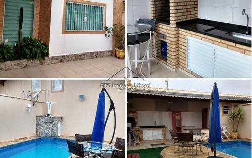 Imagem 1 de 15 de Casa Com Piscina 3 Dormitórios Na Vila Caiçara Em Praia Grande