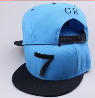 Boné Cr7 Masculino Aba Reta Azul Bordado Em Preto Promoção