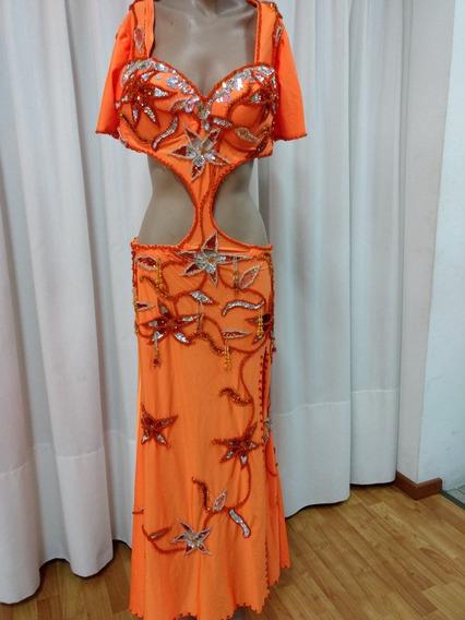 Vestido Danza Arabe Bellydance Odalisca Naranja Importado
