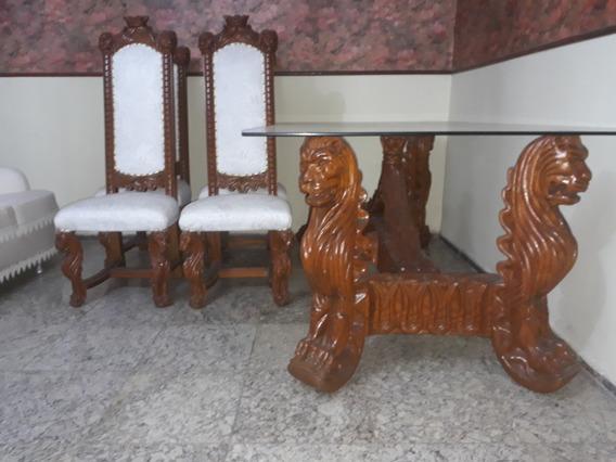 6 Cadeiras E 1 Mesa Sala De Jantar Luis Xv Entalhada Antiga