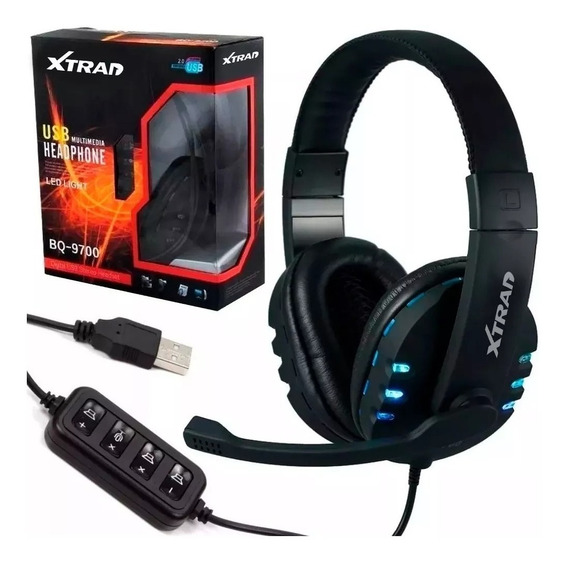 Headset Gamer Com Fio Usb Ps3 Notebook Ps4 Pc Cabo 2,2 Mute