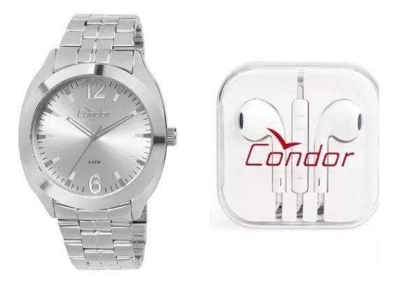 Kit Relógio Prata Condor Co2035kqp/k3k