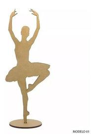 3 Bailarinas 60cm + 5 De 25cm + 2 Sapatilhas Mdf Cru 20cm