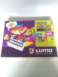 Block De Dibujo Color Fluo Luma N°5 X15 Hojas Paquete De 5u