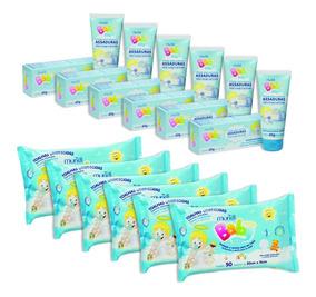 Kit 6 Lencinhos Umedecidos 6 Cremes Assadura Menino Infantil