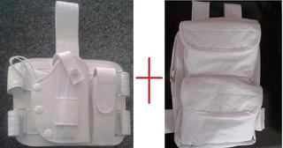 Coldre Branco De Perna Universal Em Couro + Bornal Samuray