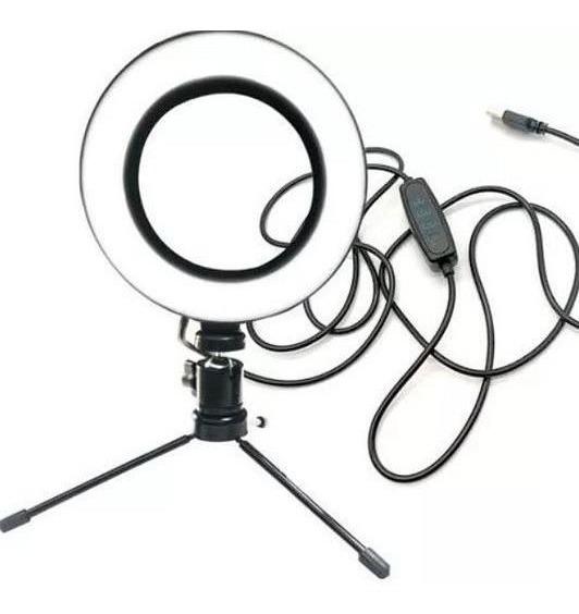 Iluminador De Led Ring Fill Light Com Tripé De 1,4 Metros Para Auxilia A Iluminação Youtuber, Selfie E Maquiagens - Usb.