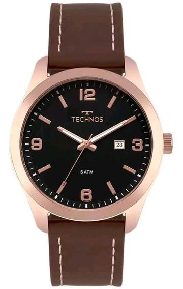Relógio Technos Couro Legitimo Masculino Casual 2115mpj/2p