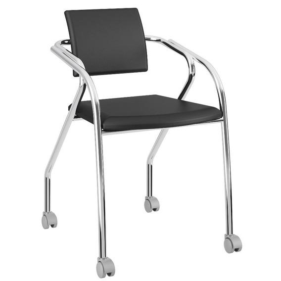 Cadeira Para Escritório 1713 Carraro - Preto Cromado