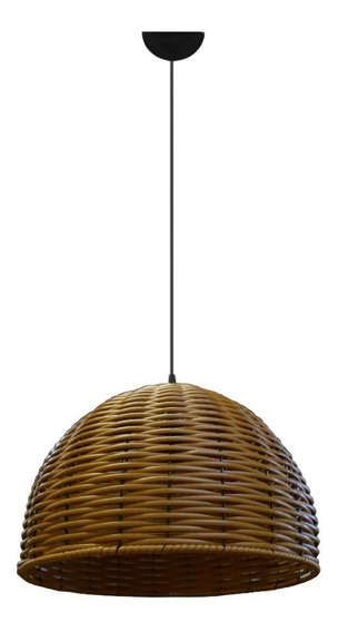 Lustre Pendente Luminaria Rustica De Junco - 35cm - Chácara