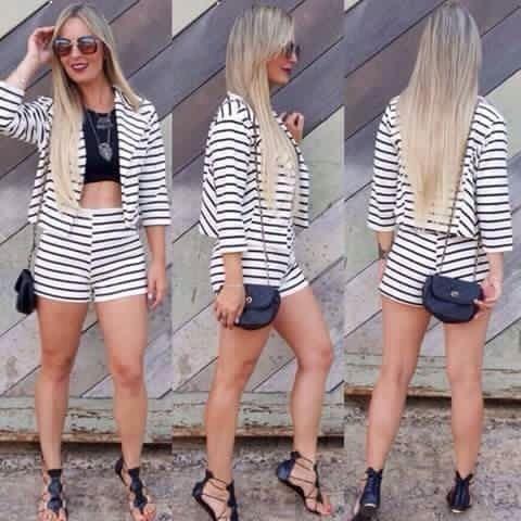Conjunto Blazer Short Casaco Roupa Feminina Blogueiras