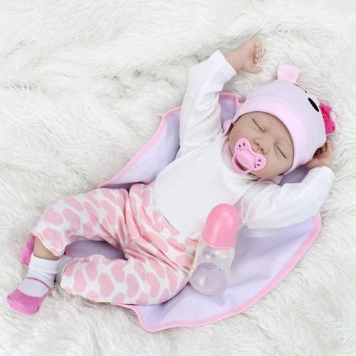 Imagen 1 de 6 de Muñeca Bebe Realista Reborn Tamaño 55cm Con Ropa Y Peluche