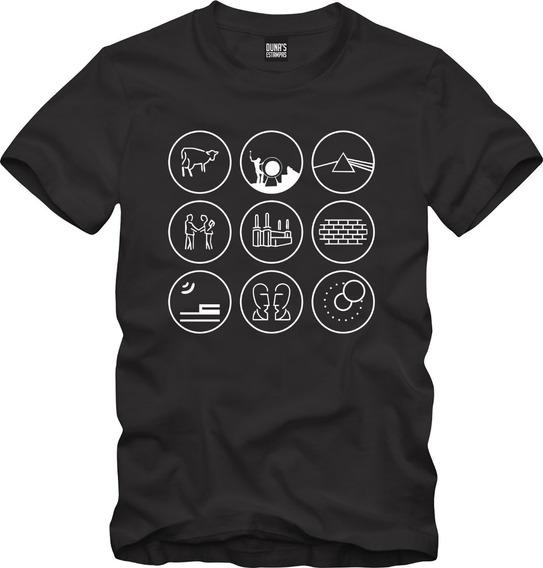 Camisa Masculina Pink Floyd Albuns Minimalista Rock 057