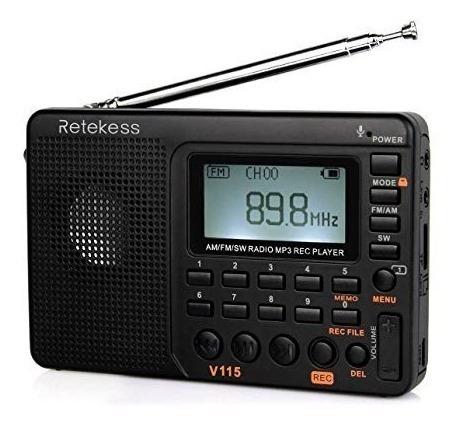 Rádio Gravador Am Fm Sw Mp3 Retekess V-115 Veja Video