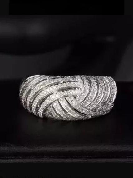 Anel Ouro 18k/750 Vazado Com Diamantes
