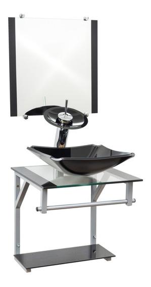 Kit Acessórios Gabinete De Vidro 40x40cm + Torneira Cascata