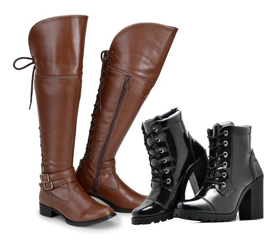 Kit Bota Over The Knee + Bota Feminina Plataforma Tratorada