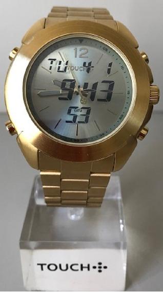 Relógio Masculino Touch Dourado Digital E Analógico