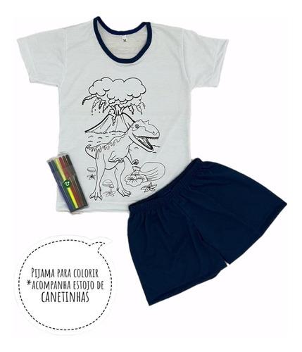 Imagem 1 de 6 de Pijama Infantil De Colorir Canetinha Presente Para Menino