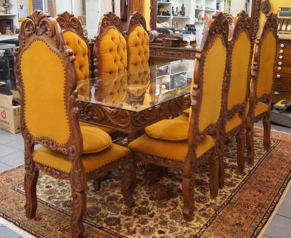 Conjunto Sala De Jantar Mesa 8 Cadeiras Colonial Antigo
