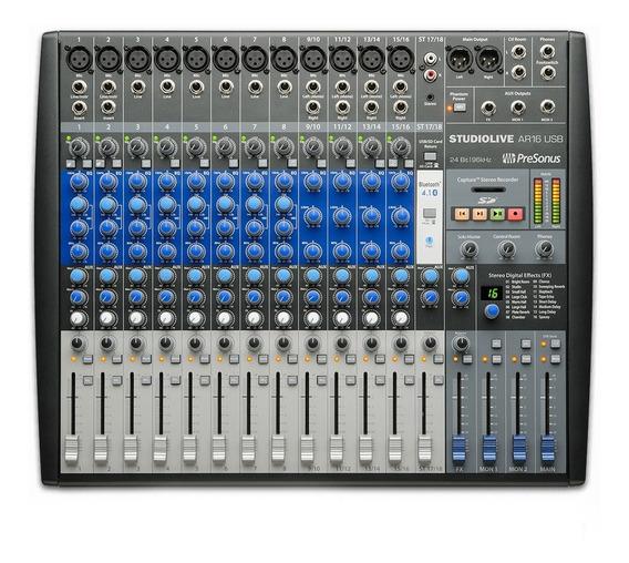 Mixer Analógico Interface Presonus De Gravação Ar16 Podcasts