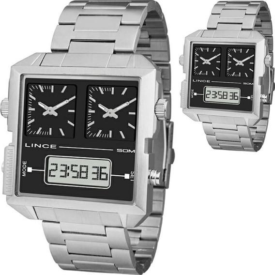 Relógio Masculino Lince Quadrado Prateado Mam4587s P1sx